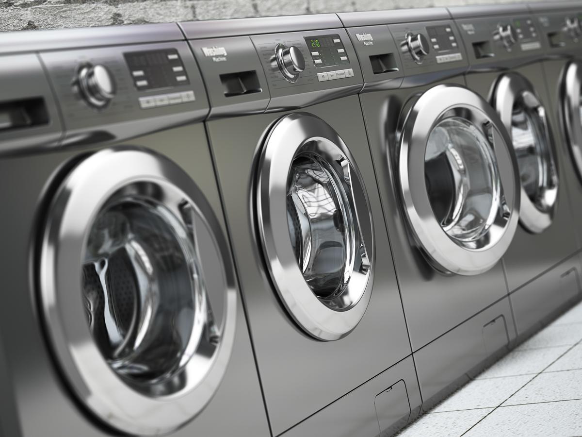 New, silver washing machines
